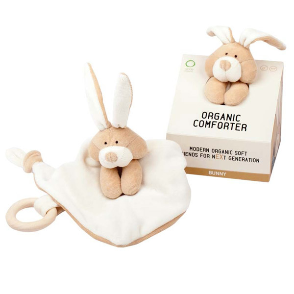 Doudou coniglietto con massaggiagengive Wooly Organic